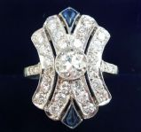 Gorgeous art deco 1.65ct Diamond and Sapphire platinum vintage antique cluster ring